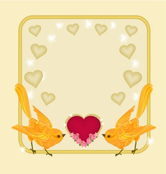 Valentines day frame heart and gold birds vector