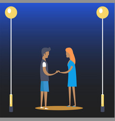 young couple of boy and girl near streetlamps vector image