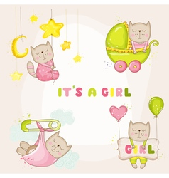 Baby Girl Cat Set - for Baby Shower Cards vector image