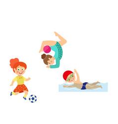 flat kids doing sports set vector image