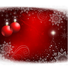 red christmas background with red balls vector image vector image