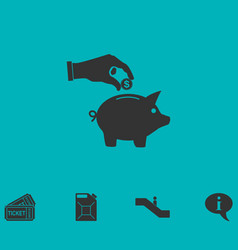 saving money with piggy icon flat vector image