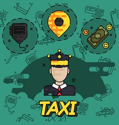 Taxi flat concept icons vector