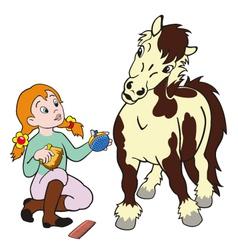 Girl grooming pony vector