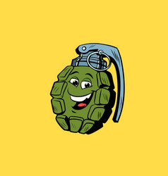 grenade cute smiley face character vector image