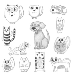 Hand drawn cats and dogs set vector image