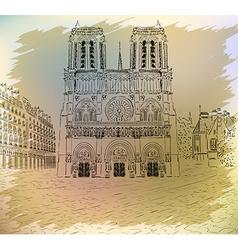 Notre Dame De Paris Sketch vector image vector image