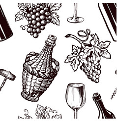 ripe grapes wicker bottle and glass for wine vector image