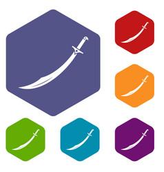 scimitar sword icons set hexagon vector image
