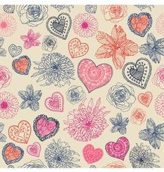 Vintage Floral Hearts Pattern vector image