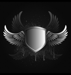 winged shield emblem vector image vector image