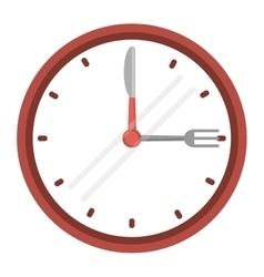 clock time dinner restaurant fork and knife vector image