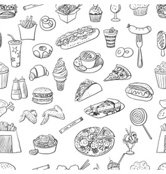 Hand drawn fast food pattern vector image