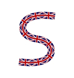 Letter S made from United Kingdom flags vector image vector image