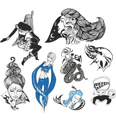 Set of fantasy ladies and tattoo girls vector image