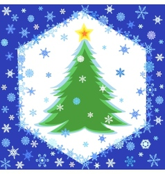 snowflakes frame and christmas tree vector image