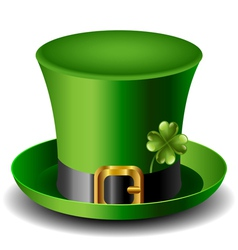 St Patricks day hat with clover vector image vector image