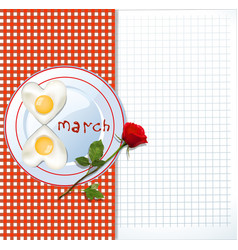 8 march template with eggs and red rose vector image