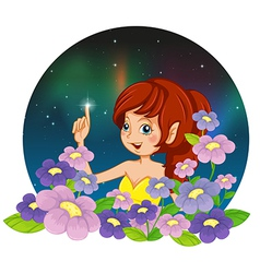 A girl and the flowers vector image