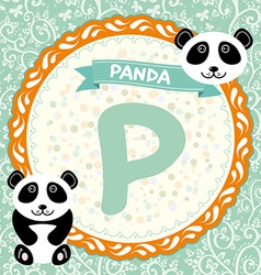 ABC animals P is panda Childrens english alphabet vector