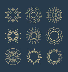 abstract sun line icons suns symbols vector image