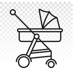 Baby carriage pram line art icon for apps vector
