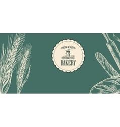Bakery sketch Ears rolls pastries bread vector image