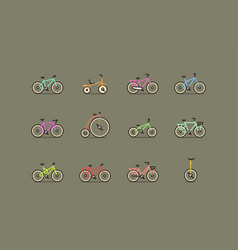 Bicycles colorful icon set vector