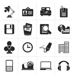 Black Office and business icons vector image