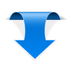 blue 3d down sticker arrow with transparent shadow vector image
