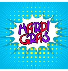 Blue lettering Mardi Gras vector image