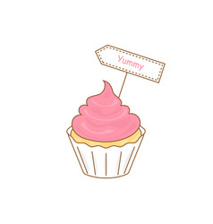 Cake icon with yummy sign vector