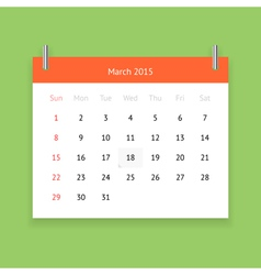 Calendar page for March 2015 vector image