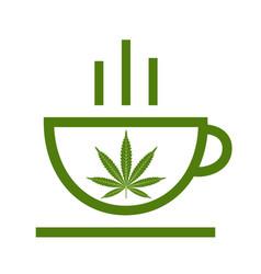 cannabis herbal tea and marijuana leaves vector image