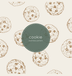 Chocolate chip cookie seamless pattern vector