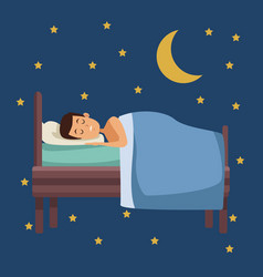Colorful scene of night with guy sleep in bed with vector