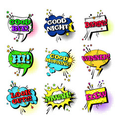 Comic speech chat bubble set pop art style sound vector