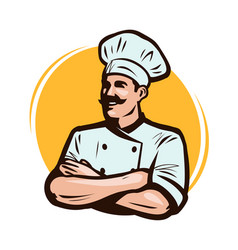 cook chef logo or label restaurant concept vector image