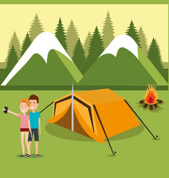 Couple with smartphones in the camping zone vector