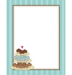 Cupcake border blue vector