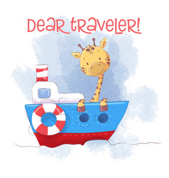 cute cartoon giraffe on a ship steamer vector image