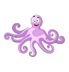 Cute cheerful cartoon octopus vector