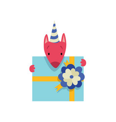 Cute dog in party hat with gift box funny cartoon vector