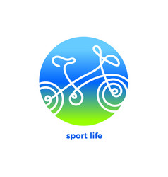 design bicycle shape in circle line art logo vector image