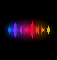 Digital music equalizer color waves design vector