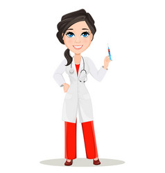 doctor woman with stethoscope cute cartoon vector image