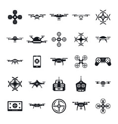drone camera quadcopter icons set simple style vector image