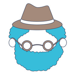 Faceless caricature elderly curly bearded man with vector