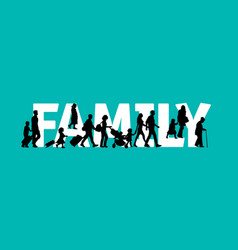 family word people silhouette symbol black and vector image