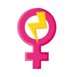 Female gender symbol with thunder ray pop art vector